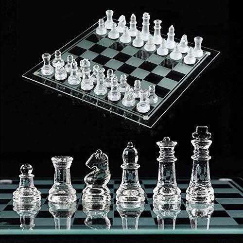 High-End Cristal juego de ajedrez, K9 transparente tarjeta de cristal y vidrio transparente, piezas de ajedrez, de fondo acolchado, la estrategia del juego del juguete para adultos y niños (25