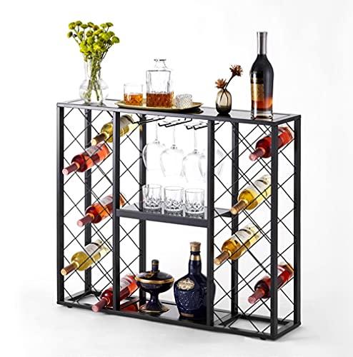 Mango Steam Consola de estante de vino con tapa de cristal (34 botellas, negro)