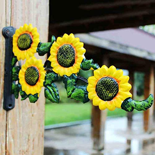 LRW Vintage Garden Cast Iron Clasp Tuin Groen Beplantingsmand Haak Sunflower Muurhaak