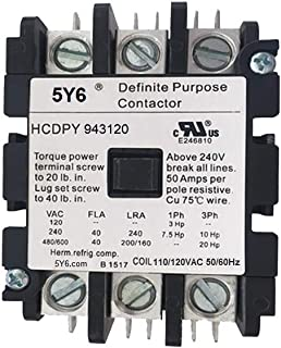40 AMP DEFINITE PURPOSE CONTACTOR 3 Pole 120V Lighting, Heating, Refrigeration, 40A UL