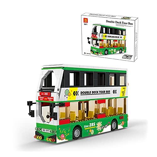 WANZPITS Kit De Construcción De La Serie De Autobuses De La Ciudad; Bloques De Construcción De Juguetes De Autobuses Simulados para 6 Años De Edad, Regalos De Cumpleaños para Niños, Nuevo 2021,Verde