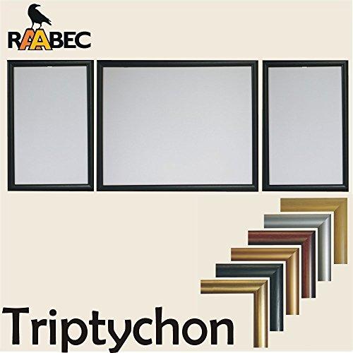 RAABEC Bilderrahmen Triptychon, Größe 100 x 40cm, Farbe Schwarz, für Malen nach Zahlen Triptychon Bilder z.B. von Ravensburger