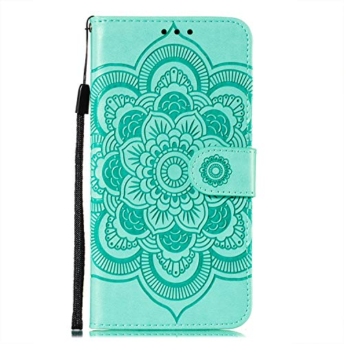 JZ Galaxy A01 Core Mandala Wallet Phone Funda For para Samsung A01 Core Flowers Flip Cover with Stand & Wrist Strap - Green