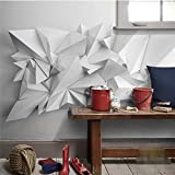 Fondo de papel de pared moderno blanco geométrico origami arte revestimiento de paredes restaurante decoración del hogar papel tapiz mural,350(W)*256(H)cm