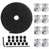 Impresora 3D accesorio 8PCS 5mm 20 Dientes Rueda de Polea de Sincronización con tornillos+ 6mm Correa Dentada GT2 de 5M + L-Shaped Hexagonal Llave