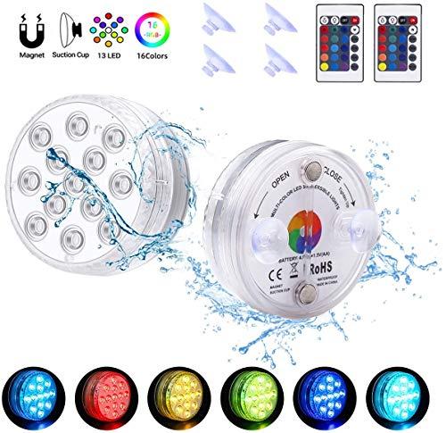 Unterwasser Licht, Magnetische Wasserdichtes LED Licht, mehrfarbige RGB-13-LED-Perlen mit RF-Fernbedienung, Poollampe für Swimmingpool, SPA, Vasenbasis, Aquarium, Teich, Inneneinrichtung (2 Stk)