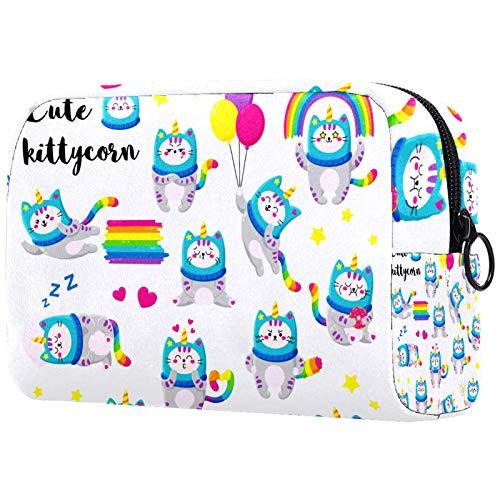 Geschenke für Männer Frauen Schminktasche Kulturbeutel Kleine Kosmetiktasche - Süße Cartoon Doodle Cats Einhorn Hut Magie
