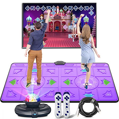 Dual Dance Pad Wireless Game Play Mat, 3D somatosensory Game TV with HDMI Cable,2 Gamepads,Camera Colorful Lamp for Adults and Children