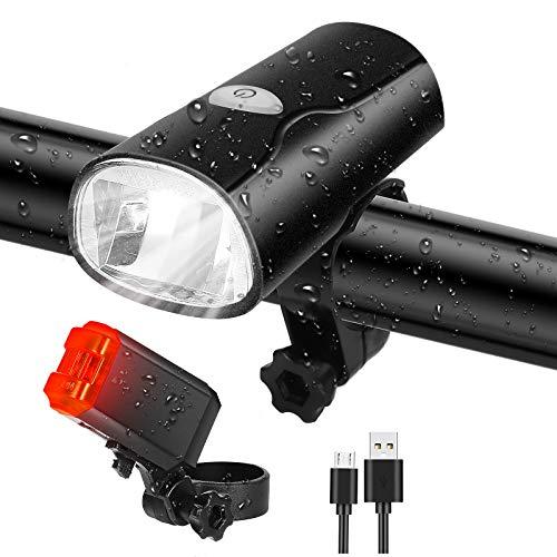 Tatopa Fahrradlicht Led Set Fahrradlichter | StVZO Zugelassen Fahrradlampe | USB Wiederaufladbare Frontlicht und Rücklicht | Wasserdicht Fahrrad Licht Fahrradbeleuchtung