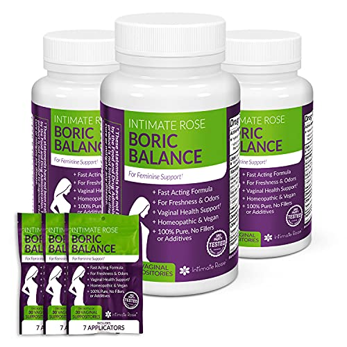 3 Pack of Boric Acid Suppositories - Feminine Balance for Women - Vaginal Suppository to Promote Vaginal Health - 90 Day Supply + 21 Free Applicators