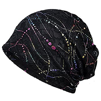 Baggy Slouchy Beanie Bling Hat for Women Chemo Cancer Hat Soft Sleep Cap Black 1