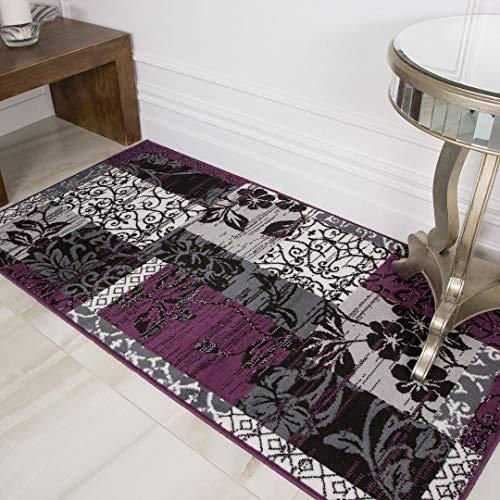 Milan Purple, Black & Gray Patchwork Area Rug 1568-H33-5'3