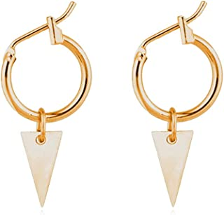 Guoshang Hoop Earrings Hammered Triangle Pendant Simple Geometric Earrings Drop Dangle Earrings Hoop Earbob Triangle Pendant Jewelry Gift Women,Gold