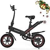 Bicicleta Eléctrica Adultos Motor de 350w,Iluminación LED,Batería de Alta Capacidad de 10Ah,Neumáticos de 14 Pulgadas,3 Modos de Trabajo,Amortiguador Central,Larga Distancia de 60 km (Negro-Y1)