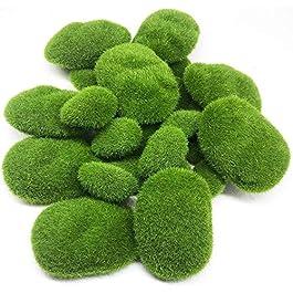 Qiwenr 10Pcs Artificielle Moss Rocks Décoratif , 5 Taille Mousse Terrarium Jardin Stepping Stones Écorce Artificielle…