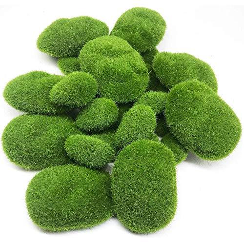 Qiwenr 10Pcs Moss Terrarium,5 Größe Künstliche Moosfelsen Dekorative Garten Trittsteine Künstliche Rinde Gefälschte Grasmoosmatte,für Blumenarrangements Feengärten und Basteln