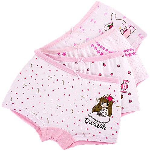 FAIRYRAIN FAIRYRAIN Baby Kleinkind Mädchen Cartoon Mädchen Pantys Hipster Shorts Spitze Baumwollunterhosen Unterwäsche 4 Packung 3-4 Jahre