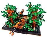 Brigamo Bloques de construcción Endor, escena de caza Diorama con 2 bicicletas de salto y vegetación exuberante.