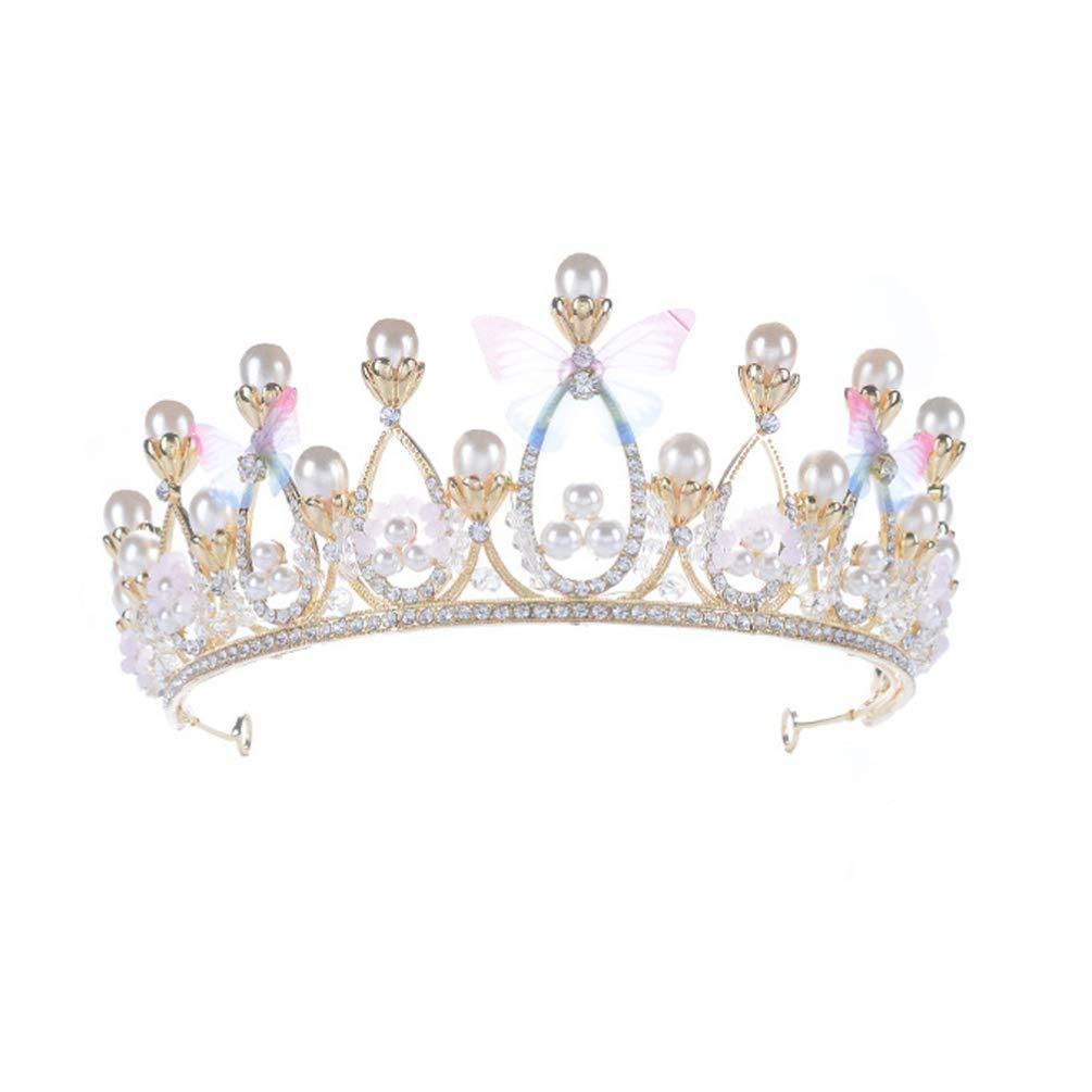 Lurrose Bridal Wedding Crown Pearl Butterfly Rhinestone Tiara Princess Prom Headband Headdress for Pageant Prom Birthday
