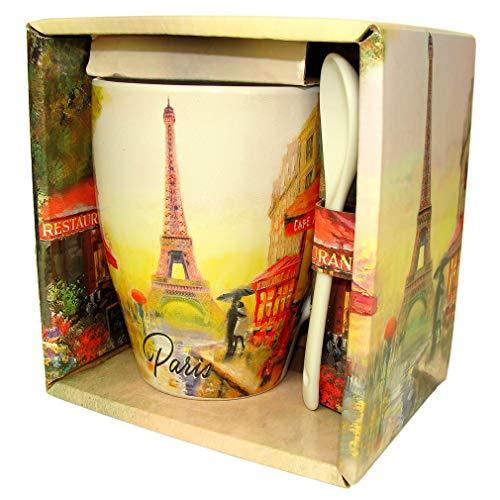 Souvenirs de France - Mug Tulipe Paris avec Cuillère en Coffret Cadeau