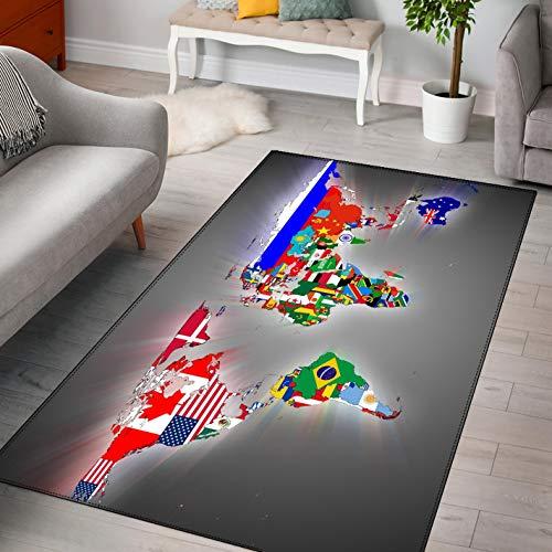 LGXINGLIyidian Alfombra Mapa del Mundo Creativo Y Hermoso Alfombra Suave Antideslizante para Decoración del Hogar Impresa En 3D F-670T 100X150Cm