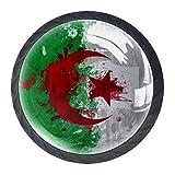 Paquete de 4 pomos con tornillos para armarios de cocina, tiradores de cajones y pomos de cristal para aparadores, armarios, mesita de noche, librería, fondo de la bandera de Argelia