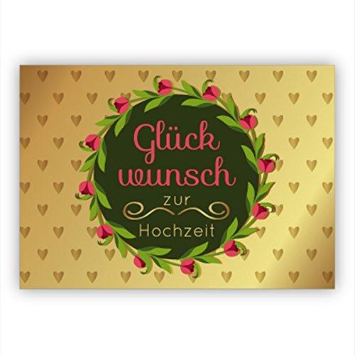 Im 4er Set Edle Hochzeitskarte mit Herzen und Blumenkranz: Glückwunsch zur Hochzeit • hochwertige Glückwunschkarte für Standesamt, Trauung