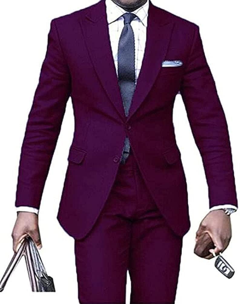 TOPG Men's Slim Fit 2 PC Wedding Suit One Button Groom Tuxedos Party Suits