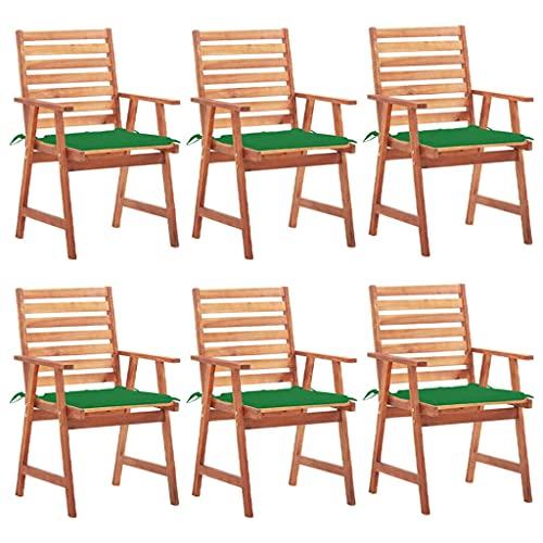 vidaXL 6 sedie da giardino in legno di acacia massiccio, con cuscino, da giardino, da balcone, da giardino