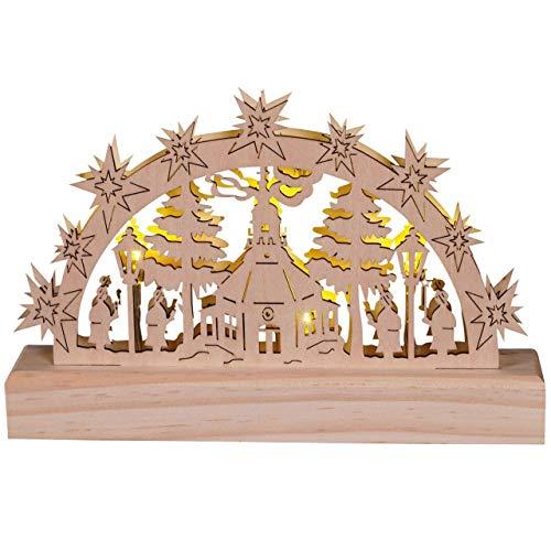 OBC Schwibbogen doppelt, LED Beleuchtung/Kurrendesänger Natur/Lichterbogen Erzgebirge Stil, handgefertigt/Deko zu Weihnachten