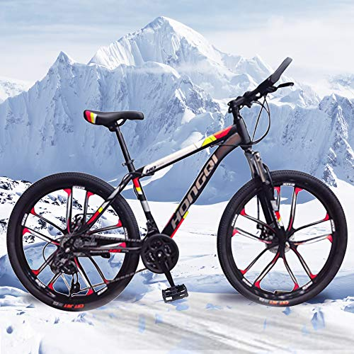 General Packaging 26-inch 21-Speed Men's Mountain Bike, High-Carbon Steel Hard-Tail Mountain Bike, Mountain Bike With Full Suspension Adjustable Seat (Red)