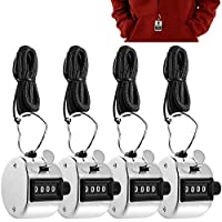 AFUNTA 4 Contadores Digitales de Mano con Lanyards, 4 Pack Mechanical Lap Trackers Manual Clickers con Soporte Metal Hoop Holder y Cuerdas Negras - Plata