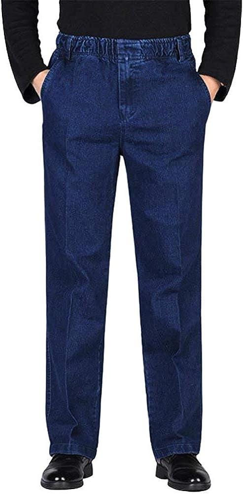 HONIEE Men's Elastic Waist Denim Pants Casual Loose Fit Jeans