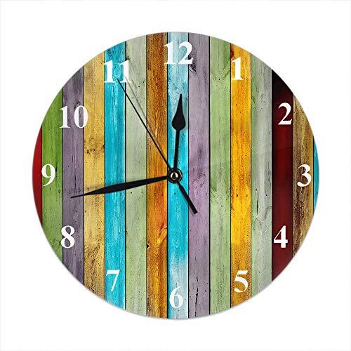 GOSMAO Reloj de Pared,Tablero Colorido Tablero de Madera Vieja con Estilo de diseño Amarillo Rojo Azul y Verde púrpura, Reloj de Escritorio Decoración del hogar para Cocina Sala de Estar Dormitorio