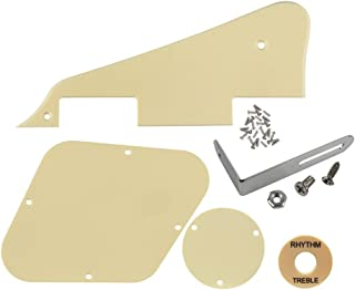 IKN 1 Set LP Pickguard/Control Cavity/Switch Cavity Cover/Bracket Silver/Cream Switch Indicación Board/Tornillos para Les Paul Standard Guitar, 1Ply Cream