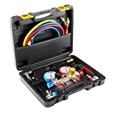 Orion Motor Tech 4 Way AC Diagnostic Manifold Gauge Set for R410, R22, R134a Refrigerants, Freon Charging and Vacuum Pump Evacuation with 5FT Hose, 3 ACME Tank Adapters, Adjustable Couplers and Can Tap