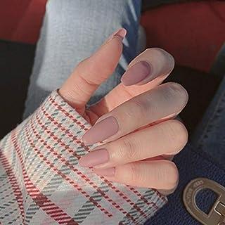 YERTTER Coffin Matte False Nails for Women Ladies Girls Plain Color Fake Fingernails DIY Nail Salons 24pcs (Cameo)