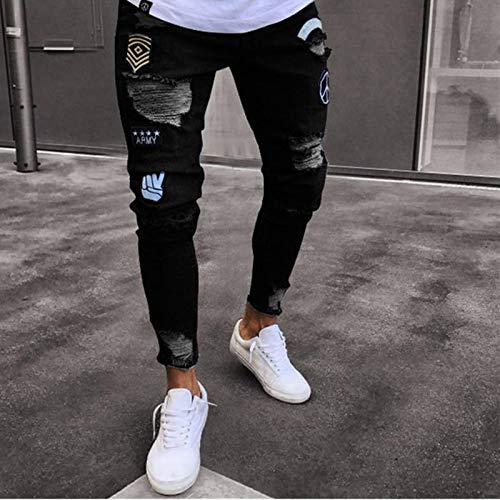 Jeans Hose Ripped Pencil Pants Herren Skinny Denim Biker Seite Gestreifte Jeans Destroyed Hole Hip Hop Slim Man Scratched Badge Jeans M Schwarz