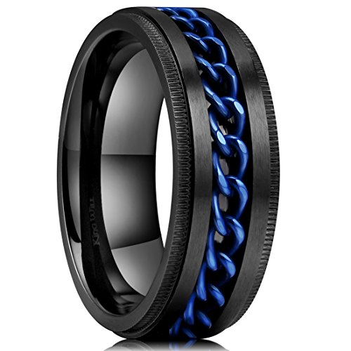 King Will Intertwine Stainless Steel 8mm Rings for Men Center Chain Spinner Ring 7