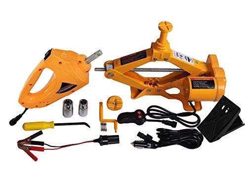 YASI MFG Kit de Elevador de Tijeras automático (2,5 toneladas, para Coche y SUV, Llave de Impacto Eléctrica + Cabezales Dobles + manivela de Mango), Color Amarillo