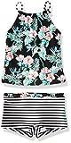 Tommy Bahama Girls' Two-Piece Bikini Swimsuit Bathing Suit, Floral Black Shorts, 4