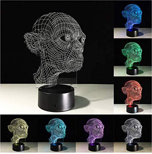 Lámpara Led Usb 3D Terror Tema Decoración del partido Cabeza del cráneo Travesura Horrible Atmósfera 7 Colores Cambio de toque Luz nocturna