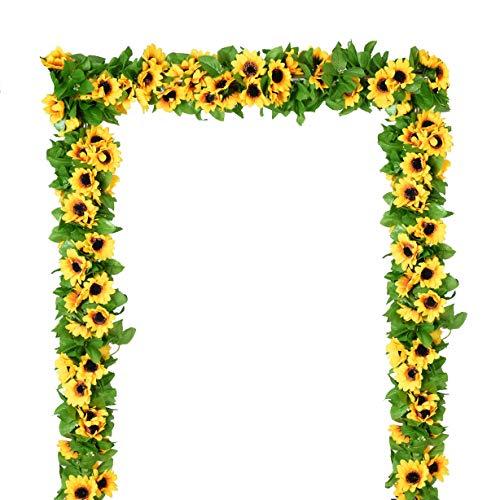 YQing 4 Pack Artificial Sunflower Garland Silk Sunflower Vine Artificial Flowers with Green Leaves Wedding Table Decor