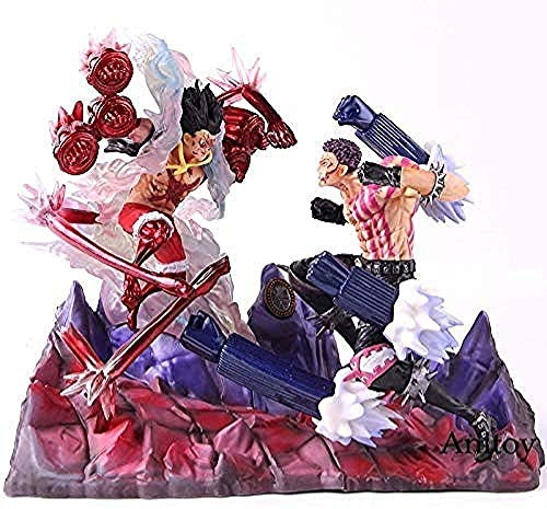 XFHJDM-WJ camión Amor Anime One Piece Luffy VS Battle Estatua de Katakuri Figura One Piece Monkey D Luffy Charlotte Katakuri Colección de Modelos en Juguetes de PVCRegalo de cumpleaños SKH3090