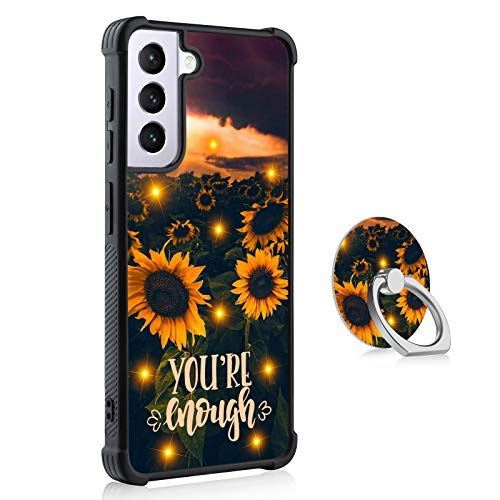 Sunflowers Samsung Galaxy S21 Case with Ring Holder for Women Men,Reinforced Corners Shockproof Protection Stripe Design Slip-Resistant Black S21 Phone Case for Samsung Galaxy S21 6.2'' 2021