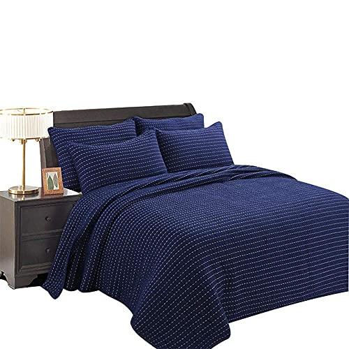 FFAN Copriletto Trapuntato Set 3 Pezzi Copriletto in Cotone per Lavare Lenzuola addensate Biancheria da Letto per Tutte Le Stagioni (230×250 cm, 50×70 cm)-Blu