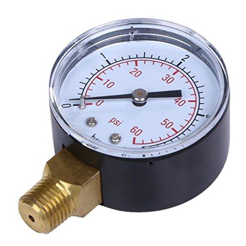 Manometer, Anschluß unten Gewinde 1/4''NPT 0-60 PSI Druckmesser z.B. für Druckminderer, Wasserfilter, Druckanzeiger, Druckanzeige