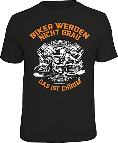RAHMENLOS Original Geschenk-T-Shirt für den etwas älteren Motorradfahrer: Biker Werden Nicht grau - ist Chrom, Schwarz, XL