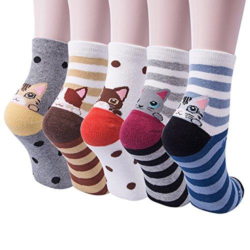 5 oder 4 Paar Damen-Socken mit niedlichem Tiermotiv, für Hunde und Katzen, aus Baumwolle -  -  Einheitsgröße