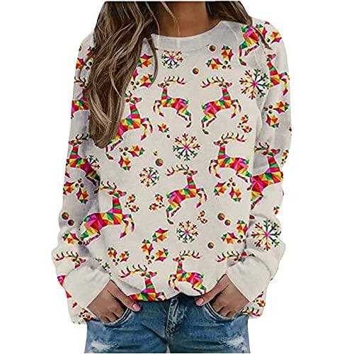 Christmas Pattern Cute Print Tops,Fall Vintage Crewneck Long Sleeve Sweatshirt,Workout Y2k Trendy Loose Fit Pullover